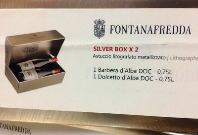 SILVER BOX FONTANAFREDDA - BARBERA + DOLCETTO D'ALBA DOC CL 75  idea regalo