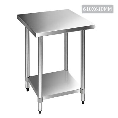 610mmx610mm Stainless Steel Work Bench Food Prep Kitchen Table Top Catering #S