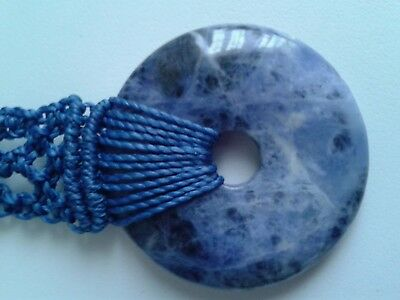Collier Pendentif Donut Pi-Chinois 40 Mm - Sodalite