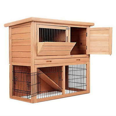 #DEALS Rabbit Hutch Chicken Coop Guinea Pig Ferret Cage Hen House 2 Storey Run