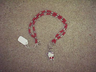 """NEW Hello Kitty Necklace Silver/Red Beads, 18"""", NWT Silver Heart, Pendant $4.00"""