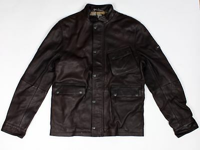 BRAND NEW - Barbour International Thunder Brown Leather Jacket -S- MSRP$899