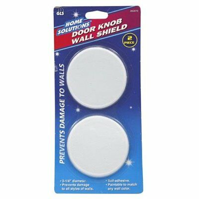 Door Knob Wall Shield Round White Self Adhesive Protector Prevents Holes 2Pc New