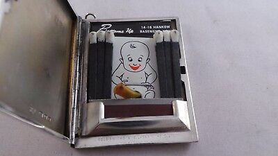 Top Quality Trick Open Sterling Silver Book Match Case Saucy Matches Inside 1946