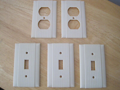 Lot Of 5 Vintage Unilite Wall Plate Covers. Ivory. Ribbed. 3 Switch & 2 Outlet P