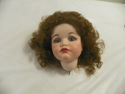 """Beautiful Porcelain Painted Doll Head With Wig. Kxxr 116 Glass Eyes 6"""" X 5"""""""