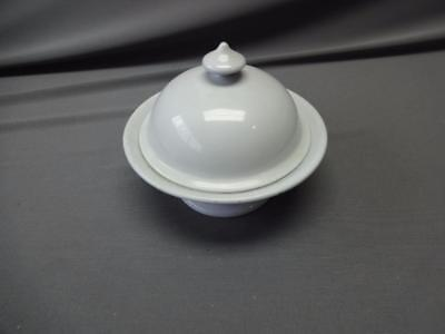 Antique 3pc Ironstone Stamped Congress Covered Soap Dish w Plate