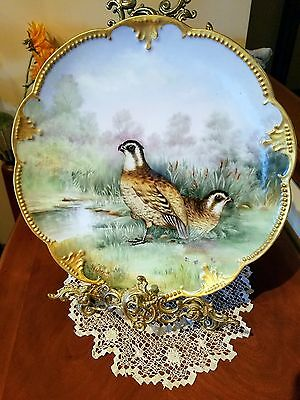 "14"" Large Limoges Game Bird Charger Plate, French Artist Signed"