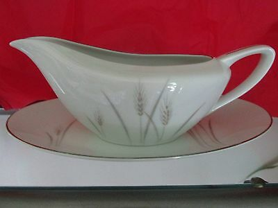 Vintage~Platinum Wheat China ~ {1} Gravy Boat with Under Plate ~ Made in Japan