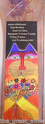 Leanin Tree - Bookmark - Laurel Burch Colorful Cat with Flowers - Celebrate Life