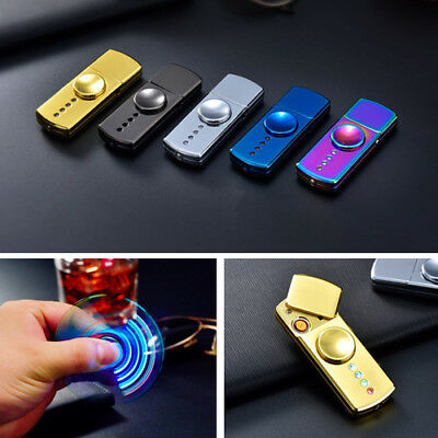 LED USB Windproof Flameless Rechargeable Dual Plasma Lighter Hand Spinner Fidget