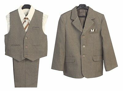 Boys Suits Toddler Kids Dark Taupe Formal Party 5 Ps set Jacket Shirt Pants New