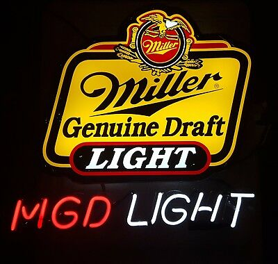 Vintage WORKING Miller Genuine Draft Light Neon Beer Sign
