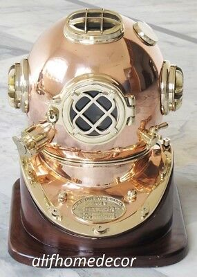 Antique Solid Copper Brass Diving Divers Helmet Deep Sea Navy Diver Mark V 18''