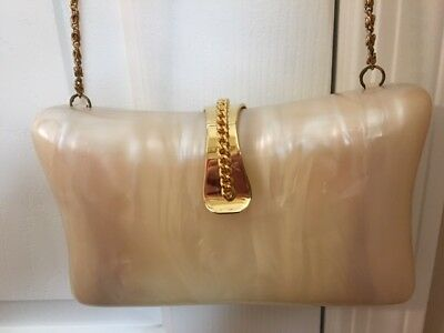 VINTAGE Lucite FAUX Mother of Pearl Women's Evening Clutch