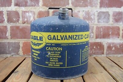 Vintage 1940's Eagle Galvanized 5 Gallon No. 405 Gas Tank Can 26 Gauge Steel