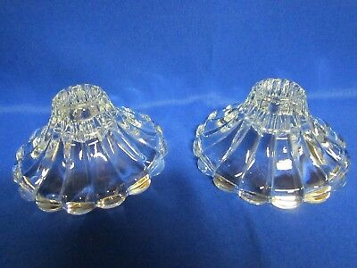 Vintage Clear Glass Tapered Candle Holders--Set Of 2