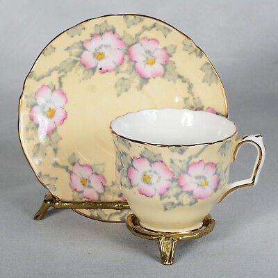 Crown Staffordshire Teacup & Saucer - Light Yellow/pink Flowers