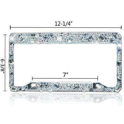 CHUNKY MIX AB Clear Crystal Rhinestone License Plate Frame Bling ...