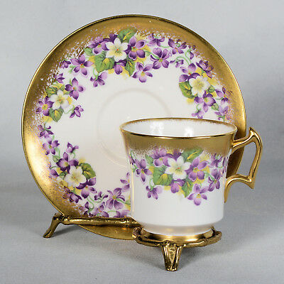 Royal Chelsea Teacup & Saucer - White/ Purple Violets Lots Of Gold