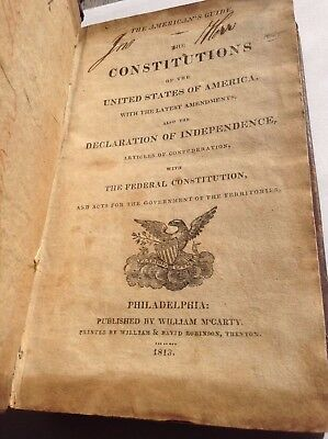 American's Guide The Constitutions ~ Declaration + Articles ~ 1813 Philadelphia