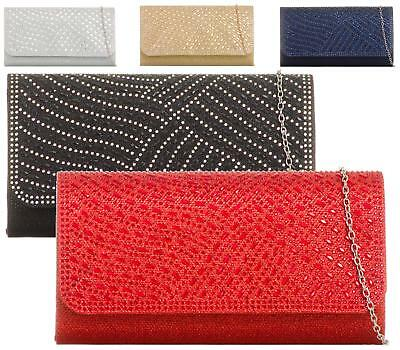 Womens Diamante Shimmer Glitter Bridal Party Evening Prom Envelope Clutch Bag
