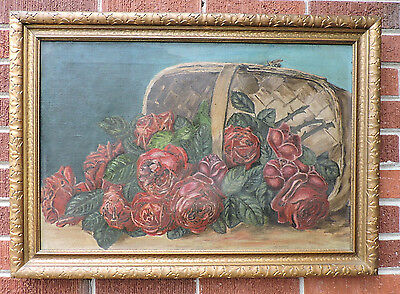 Antique RUBY RED ROSES Sunday artist De Longpre Style Oil PAINTING Framed c1900s