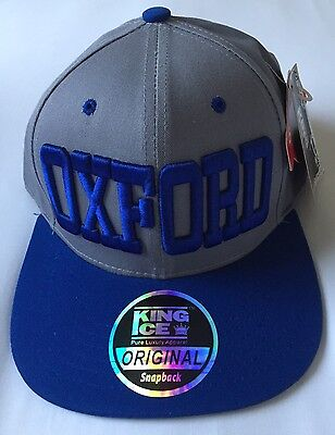 King Ice Snapback Original Grey & Blue Sports Cap OXFORD ~ Size Adjustable