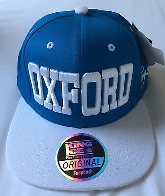 King Ice Snapback Original Blue & White Sports Cap OXFORD ~ Size Adjustable