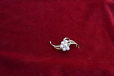 Vintage Estate 14k Yellow Gold Diamond &  Pearl Brooch Pin Large