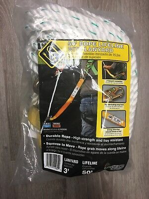 Lifeline Rope 50 Ft Lanyard Upgear Foot Resistant Durable Safety White New
