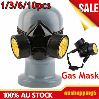 Protection Filter Double Gas Mask Chemical Gas Respirator Face Mask Goggles OZ