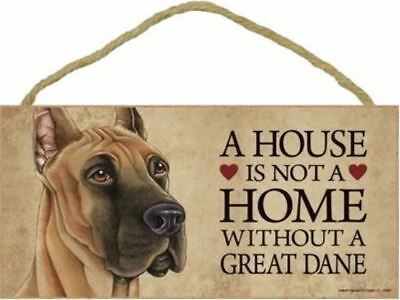 "House is Not Home without a Great Dane Sign Plaque Dog 10""x5""  gift"