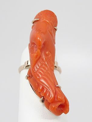 """Huge Antique Chinese 10K Natural Red Coral 1 ½"""" Carving of Bird & Fish Ring 7.3g"""