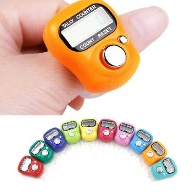 Mini 5pcs 5 Digit LCD Digital Golf Finger Hand Ring Knitting Row Tally Counter