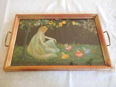 """Antique Fairy Serving Tray or Vanity """"Love Fairies""""  17"""" X 11"""" Lovely"""
