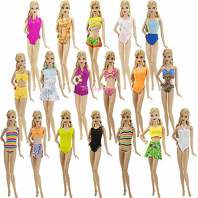 Plain Swimsuit Bikini Swimwear Sea Beach Holiday Outfit Clothes For Barbie Doll