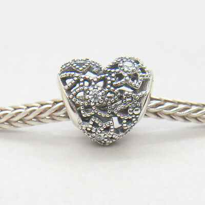 1839980dd AUTHENTIC PANDORA STERLING Silver Blooming Heart Clear CZ Charms ...