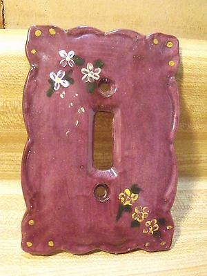 Nice Porcelain Ceramic Purple Single Light Switch Plate Cover with Flowers