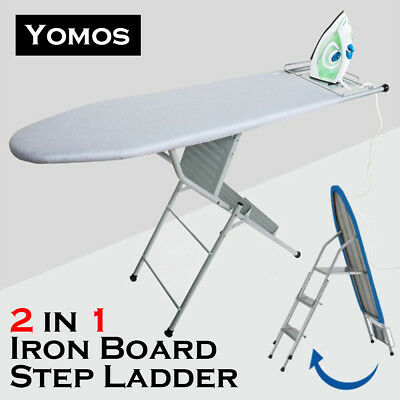 New! Ironing Board Folding 3 Step Ladder Foldable Steel Frame Iron Board 2IN1