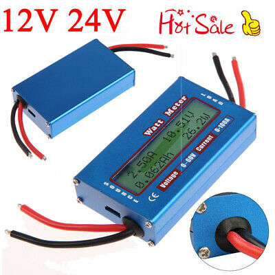 Simple DC Power Analyser Watt  Volt Amp Meter 12V 24V Solar Wind Analyzer UK