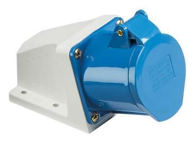 Blue 240V 32AMP ANGLED PANEL SURFACE MOUNT 3 PIN Industrial Socket IP44 Weatherp