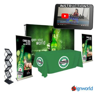 Trade Show Kit #4 Fabric Pop Up + Roll Up banner + Table Throw + literature Rack