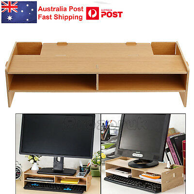 2 Layer Wooden Desk Monitor Stand Bracket LED LCD PC Computer Rocker Storage