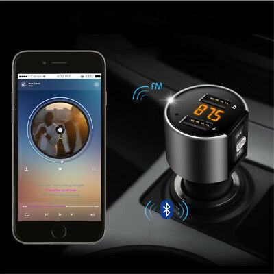 Wireless Bluetooth Car Kit FM Transmitter Hands Free Calling Smartphone Universa