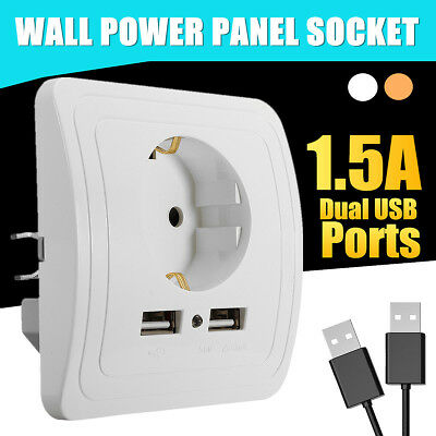 Electric Dual USB Port Wall Charger Adapter Socket Power Outlet Panel EU Plug