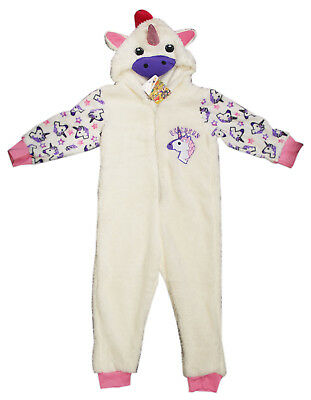 Childrens Kids Sparkling Cream Unicorn Sleepsuit Pyjamas Ages 2-6 Dress Up 56885