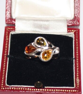 Gorgeous Celtic Sterling Silver and Genuine Baltic Amber Ring