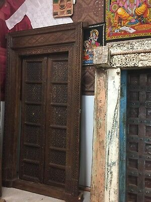 SHEKHAWATI 18c Antique Floral INTRICATE Carved Doors Teak Double Door, Frame 96""