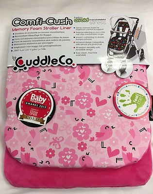 Brand new  CuddleCo comficush memory foam stroller liner in pink love birds